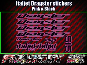 Italjet Dragster Decals Stickers PINK & BLACK 9 piece set 50 70 125 172 180